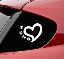 Heart with 4 paws vinyl decal sticker bumper funny dog car lover car truck leash