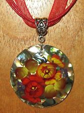 UNIQUE hand painted Abalon SHELL MOZAIC PENDANT Zhostovo Red Yellow FLOWERS GIFT