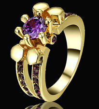 Purple Amethyst Charms Women Rings Yellow Gold Filled Wedding Gift Size 7 Halo