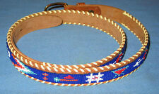"42"" Hand Beaded WAMPUM Belt Top Grain Cowhide Made in Alaska - FREE SHIPPING"