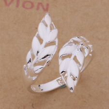 Shiny 925 Sterling Silver Plated Cut Out Leaf Adjustable Open Ring/Thumb Ring