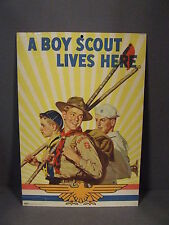 "VINTAGE BSA ""A BOY SCOUT LIVES HERE"" BROWN & BIGELOW # 4507 WWII ERA POSTER"
