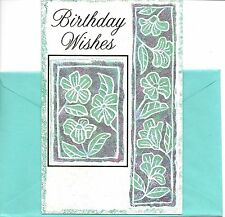 Happy Birthday Wishes Green Flowers Greeting Card