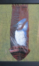 Painting of Blue Jay on Turkey Feather-Detailed:  Paul St.John, Mohawk