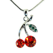 w Swarovski Crystal Sexy Hot Red Juicy ~CHERRY~ Charm Pendant Necklace New  Xmas
