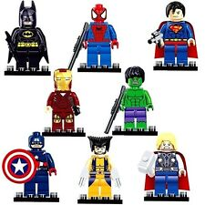 Marvel DC Ajuste Con Mini Figuras De Lego 8 pc SET completo la Los Vengadores Batman Superman