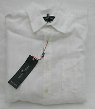 MEN'S MARKS AND SPENCER BLUE HARBOUR WHITE PURE LINEN SHORT SLEEVE SHIRT SIZE L