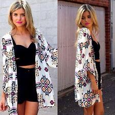 Boho Women Floral Long Jacket Kimono Cardigan Cape Ladies Beach Tops Bouse Shirt