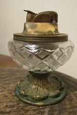 antique ornate solid bronze brass crystal Spanish cigarette table wick lighter