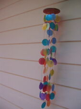 Wind Chimes Capiz Shells 33 inch Rainbow Multi Color Triple Waterfall FREE SHIP