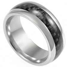 8MM Stainless Steel Ring Carbon Fiber Husband Father Day Gift Wedding School