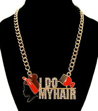 "Bling Rhinestone ""I DO MY HAIR"" AFRO PUFF/PICK Statement Necklace Link Chain Red"
