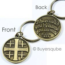Jerusalem Cross/RCIA Key Ring Key Chain Right of Christian Initiation for Adults
