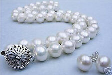 """10-11MM White Akoya Cultured Pearl necklace earrings set 18"""""""