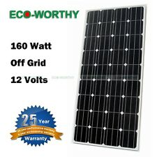 160W Watts Monocrystallin​e Solar Panel 12Volt for Home Power RV Battery Charge