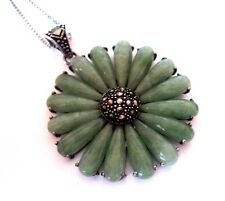 Sterling Silver GREEN AVENTURINE & MARCASITE Large Flower PENDANT NECKLACE Chain