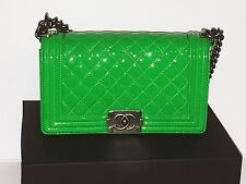 New CHANEL Boy Bag gorgeous Green color on Patent Leather. Nice Unique Bag!