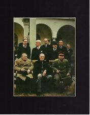 Franklin Roosevelt Winston Churchill Stalin Yalta Conference Photo Matted
