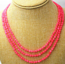 "Fashion jewelry 17-19 ""3 rows 4 mm peach pink jade bead necklace"