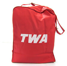 TWA Bag Vintage Travel Airlines Carry Vacations Tote Shoulder Red 1960s 1970s