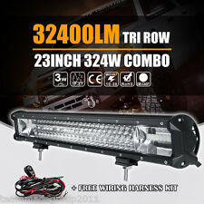 "8D TRI ROW 23INCH 324W CREE LED WORK LIGHT BAR SPOT FLOOD COMBO ATV 22"" / 24"" US"