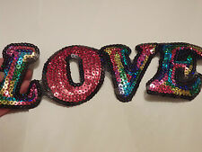 large love letter patches sequin applique patch motif iron on sew on UK
