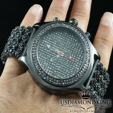 Men's All Black Hip Hop Iced Out 4 Row Custom Band IceMaster Bling Wrist Watch