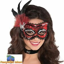 SPIDER WEB HALLOWEEN MASK WITH FEATHER - ladies womens fancy dress