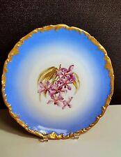 """Large T&V France Limoges Dish Plate Turquoise Blue - Orchids-Signed MAOGLE 10"""""""