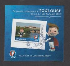France - Bloc autocollant oblitéré Euro de Football UEFA 2016 - Toulouse - TB