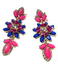 Fashion Party Charm Resin Leaf Flower Rhinestone Statement Stud Dangle Earring