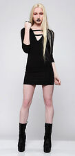 Lip Service House of Widow Black Pleather Strip 3/4 Sleeve Dress XS