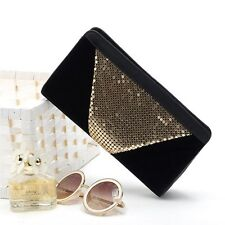 Women Clutch Bag Gold Sequins Handbag Evening Party Wedding Bridal Bag Purse NEW
