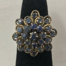 Vintage Cascading Blue Sapphire Cluster 14K Yellow Gold Ring Size 6.25