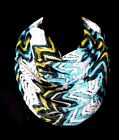 B32 Lace Gold Teal Green Ivory Metallic Chevron Zig Zag Infinity Scarf Boutique