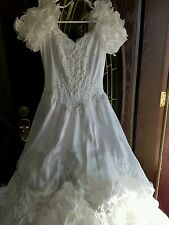 ALFRED ANGELO  Vtg White  LACE ,PEARL& SEQUIN EMBELLISH WEDDING DRESS SIZE 12