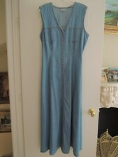 Ladies Denim Dress Size 14 Button Front Jumper Dress Midi Length $120 Value NWOT