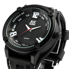 AK White Number Dial Black Face Rubber Silicon Band Mens Sport Army Quartz Watch