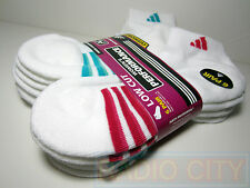 Adidas Women's Socks Low Cut (6 Pair) Size 5-10 White with Pink-Aqua-Blue NEW