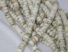 "2 Strands Set of 10x4mm Natural White Turquoise Rondelle Beads 15.5"" Strand"