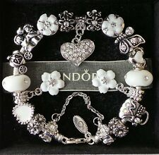 Authentic PANDORA Silver Charm Bracelet with Charms Beads White Heart Love