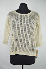 [47 77] DKNY JEANS NWT BEIGE CROCHET KNIT 3/4 SLEEVES SWEATER SIZE: PS PETITE