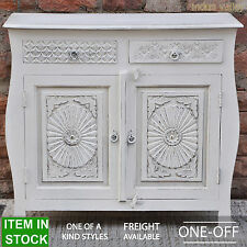 French Colonial style solid wood timber white sideboard buffet hutch hand carved