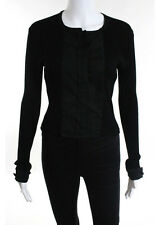 PAULE KA Black Ribbed Long Sleeve Clasp Front Wool Blouse Top Sz IT 44