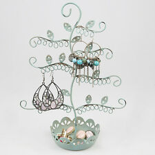 ELEGANT BLUE EARRING JEWELLERY DISPLAY HOLDER TREE STAND  METAL NECKLACE RINGS