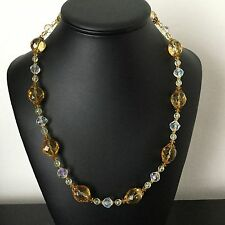 Collier Vintage En  Cristal Facetté Citrine 1960 French Vintage Necklace