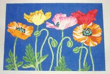 LEE  Lg. Garden of Poppy Flowers on Blue handpainted Needlepoint Canvas 13 Mesh