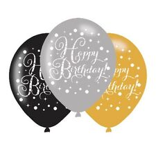 Happy Birthday 6 Latex Balloons Gold Silver Black Party Decorations Glitz