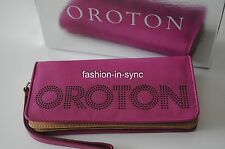 OROTON Transcendent Cut-Out Wristlet Leather Purple Berry with Box RRP $195.00