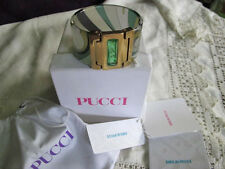 iconic new 100% EMILIO PUCCI green swirl CUFF BRACELET+ gold +jewel bnwt +box